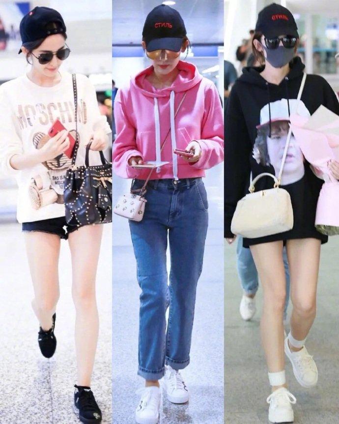 Người đẹp Tân Cương vốn chuộng mặc thoải mái khi ra sân bay, phong cách ưa thích của cô là denim, hoodie kết hợp giày thể thao, kính đen.