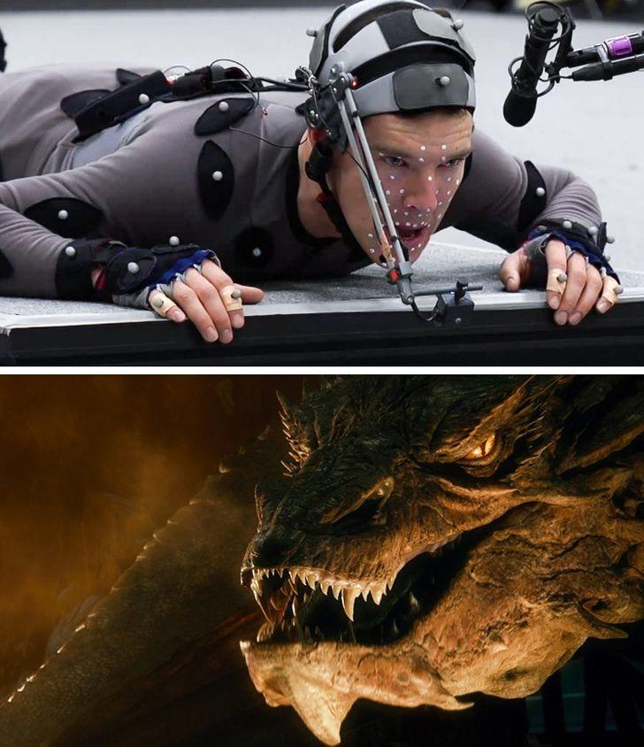 Trong The Hobbit, Benedict Cumberbatch biến thành con rồng đáng sợ nhờ kỹ xảo.