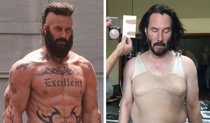 Keanu cũng phải đeo các đạo cũ hỗ trợ để có body như trong phim.