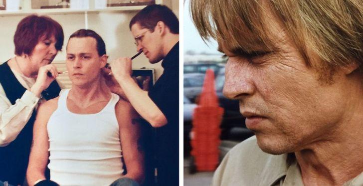 Làn da chảy xệ, nhiều nếp nhăn của Johnny Depp trong phim Blow là do hóa trang.