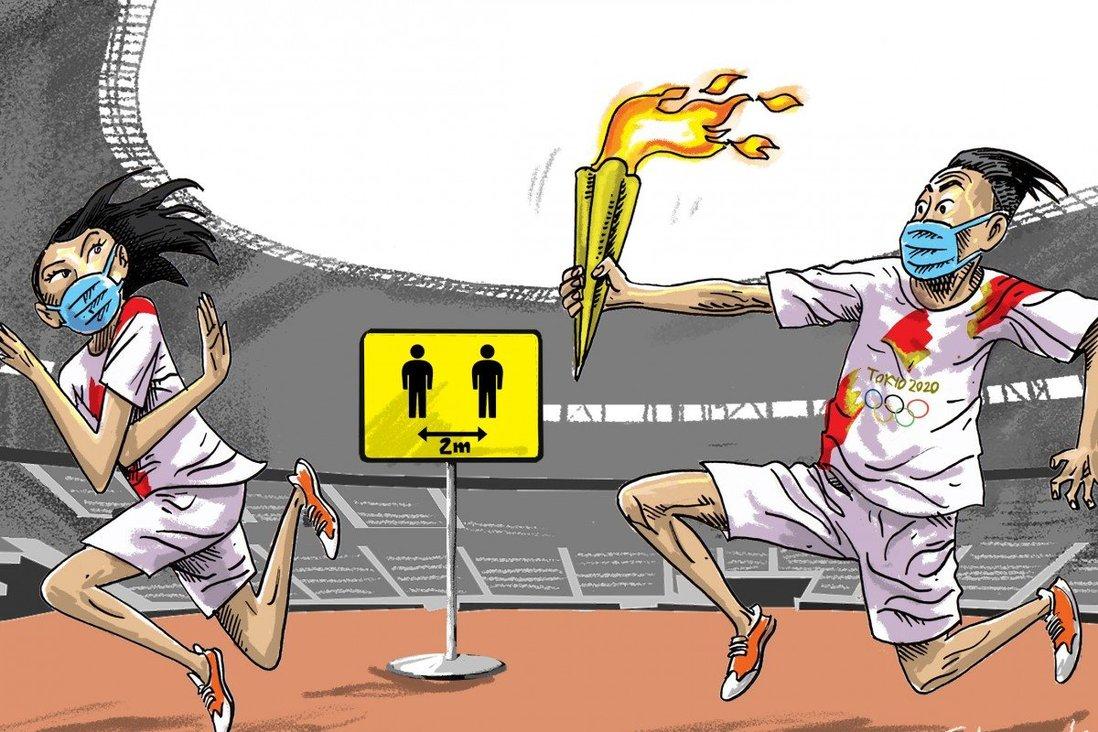 Ảnh chế về màn rước đuốc Olympic Tokyo bị từ chối giữa dịch bệnh.
