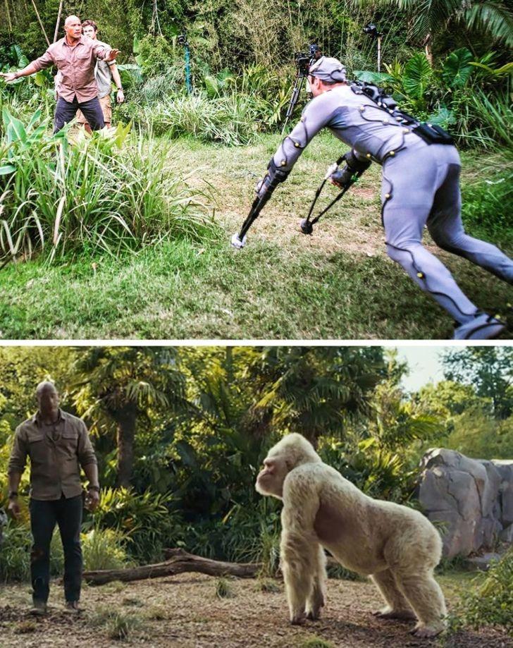 Hollywood có những diễn viên đóng thế chuyên thể hiện vai động vật. Họ biết cách mô phỏng dáng đi của các con vật.