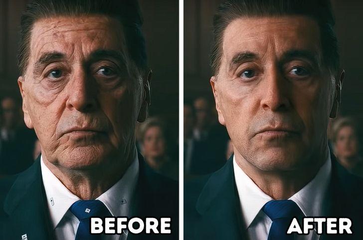 The Irishman có nội dung kể về cả quá khứ lẫn hiện tại, bởi vậy các diễn viên được trẻ hóa khuôn mặt nhờ CGI.