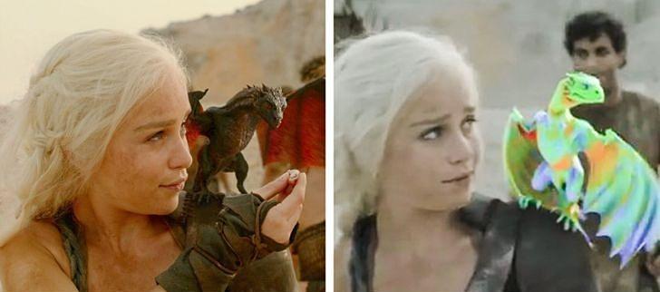 Những con rồng của Daenerys trong Game of Thrones trông cũng không oai vệ lắm ở hậu trường.