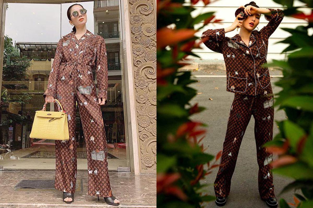 Bộ cánh gồm áo và quần dài rất lịch sự của Louis Vuitton được nhiều mỹ nhân Việt diện cả lúc ở nhà và ra phố. Set pyjama giá hơn 100 triệu đồng này tạo nên cuộc so kè giữa Lệ Quyên, Diễm My 9x...