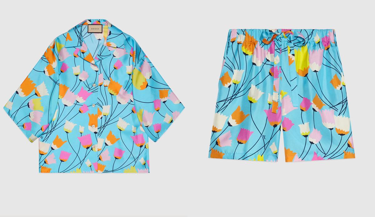 Bộ pyjama của người đẹp đến từ thương hiệu Gucci, in hình họa tiết hoa tulip với chất liệu 100% lụa cao cấp. Giá bán của chiếc áo là 1.400 USD, chiếc quần shorts có giá 980 USD. Tổng cộng, để sở hữu một bộ cánh xinh xắn, mát mẻ ở nhà, Hà Hồ phải chi đến 55 triệu đồng.