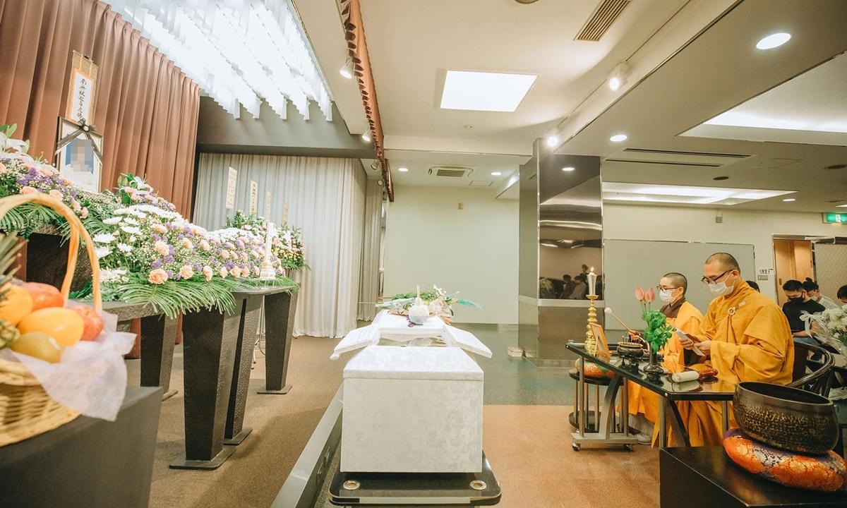 Lễ cầu siêu cho nạn nhân người Việt tại nhà tang lễ Minami Osaka hôm 11/8. Ảnh:Facebook/Thích Đức Trí.