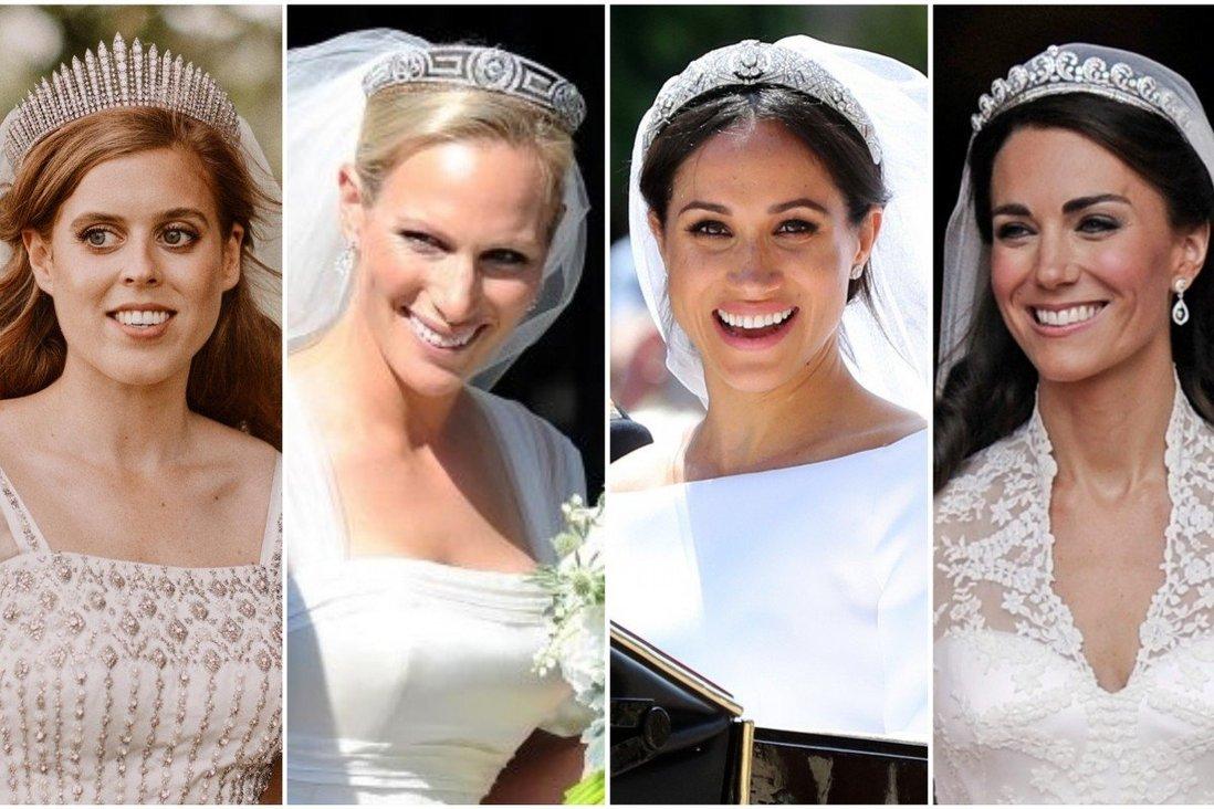 Công chúa Beatrice, Zara Tindall, Meghan Markle và Kate Middleton (từ trái sang phải) đội vương miện trong ngày trọng đại. Ảnh: Reuters/AP/People/Pinterest