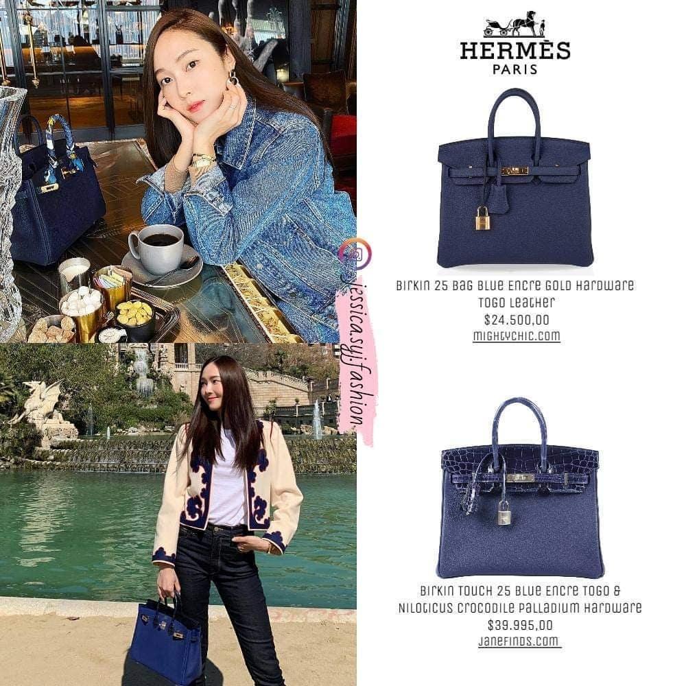 Để sở hữu hai chiếc túi Birkin màu xanh navy, Jessica phải chi số tiền không nhỏ. Trong đó, chiếc túi đắp da cá sấu có giá tới gần 1 tỷ đồng.