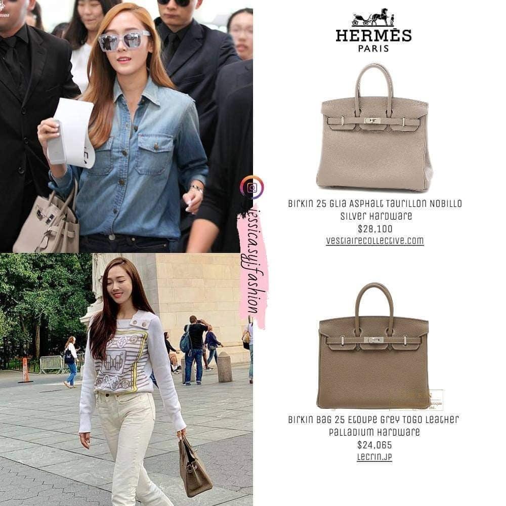 Đều cùng một dòng Birkin nhưng mỹ nhân Hàn sở hữu số lượng và màu sắc nhiều không đếm xuể. Những chiếc túi này chủ yếu mang giá trị sưu tập hơn là sử dụng vì chỉ được Jessica xách xuống phố vài lần.