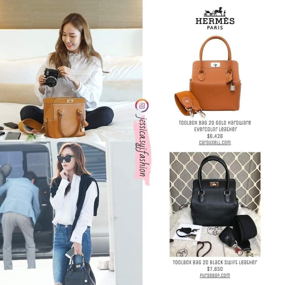 Bên cạnh hai dòng Kelly và Birkin đình đám, Jessica còn sở hữu nhiều mẫu túi Hermes khác như Toolbox Bag với hai màu nâu, đen.