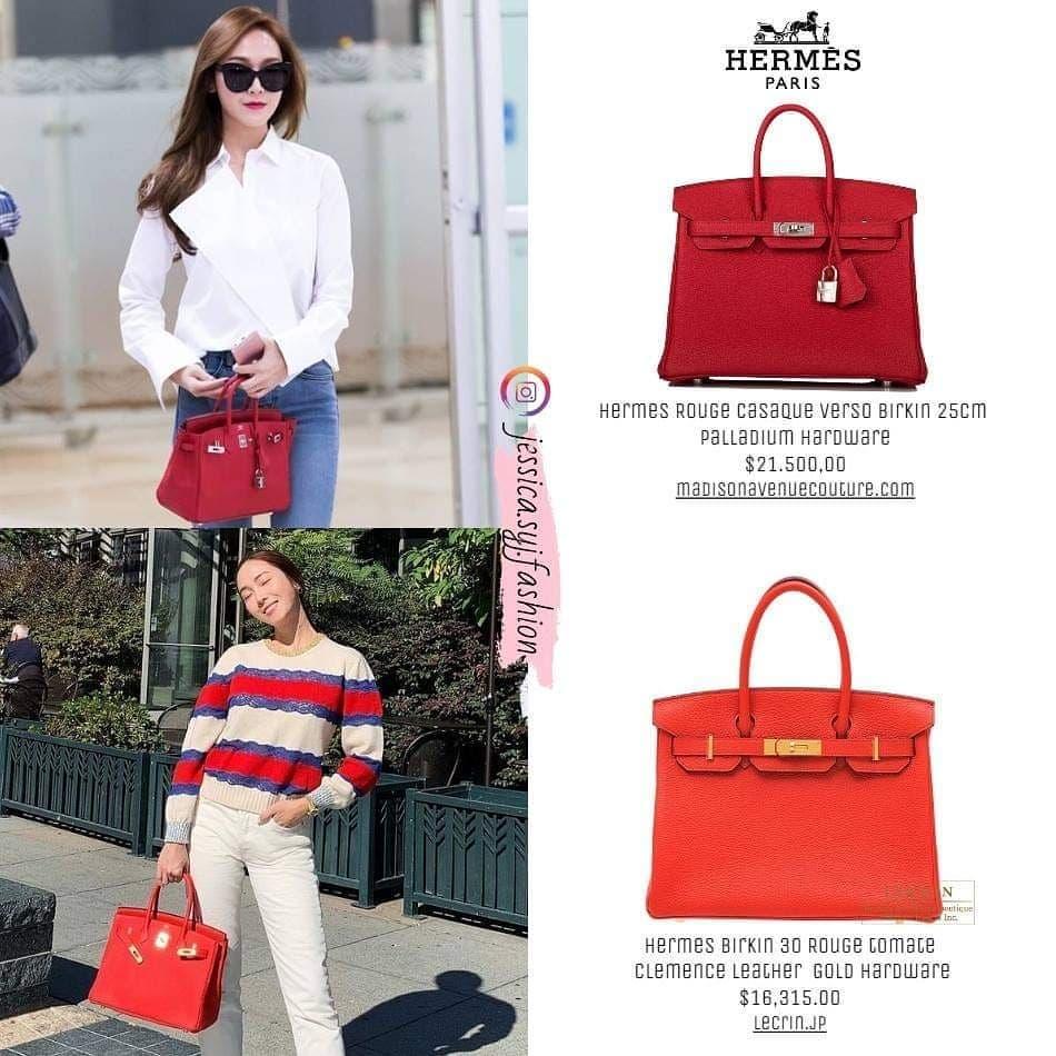 Chứng minh là fan cuồng của Hermes, Jessica sắm chẳng thiếu màu nào các mẫu hot của hãng. Với dòng Birkin, người đẹp sở hữu hai chiếc màu đỏ tươi và đỏ thẫm.