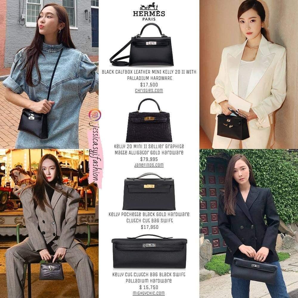 Các thiết kế Kelly clutch với đủ kích thước từ mini đến size to cũng lọt mắt xanh của Jessica. Dù phải chi ít nhất 16.000 USD cho mỗi chiếc, thậm chí có thiết kế lên tới gần 80.000 USD (hơn 1,8 tỷ đồng), những chiếc túi này không được Jessica sử dụng quá nhiều.