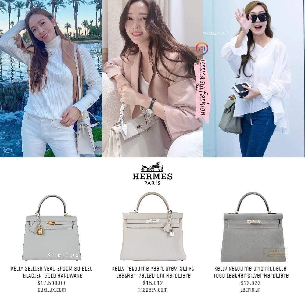 Tông màu xám nhẹ nhàng và thanh lịch thường được Jessica chọn diện khi mặc trang phục màu trung tính như trắng, be. Cô sở hữu 3 chiếc màu xám nhiều sắc độ của dòng Kelly.