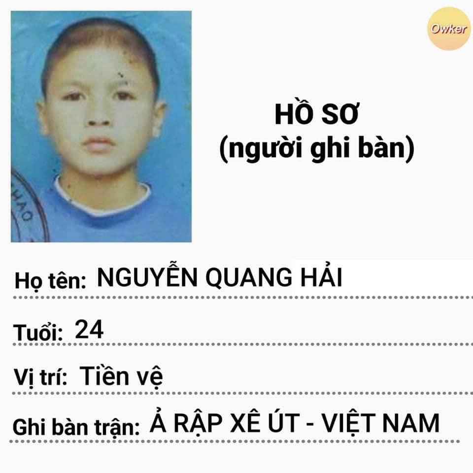 Lập tức, hồ sơ của chủ nhân bàn thắng là Nguyễn Quang Hải nhanh chóng được chia sẻ với rất nhiều bình luận khen ngợi,