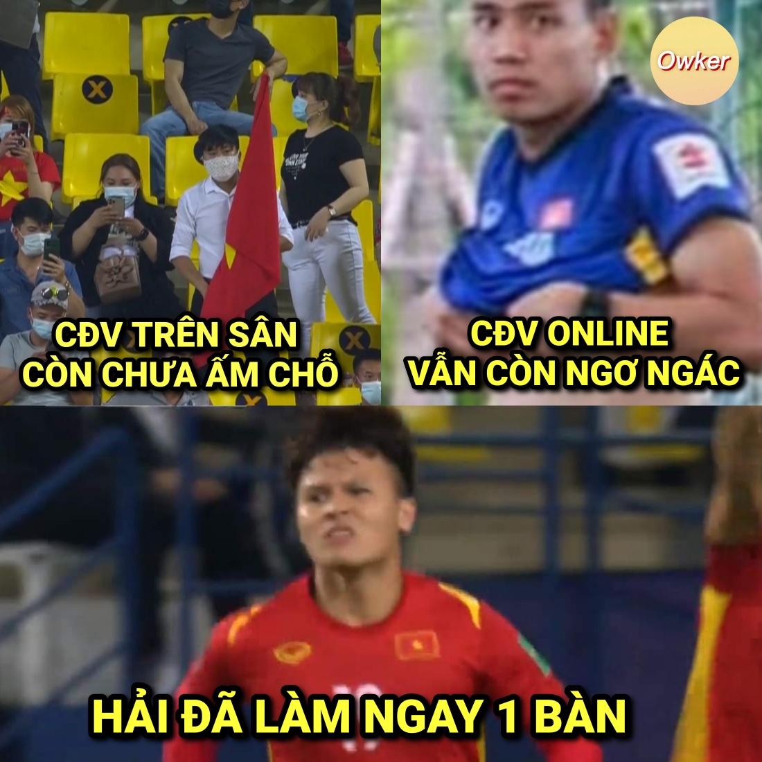 Đây là cảm xúc của rất nhiều CĐV Việt Nam ngay lúc này: Chưa ngồi ấm chỗ đã có bàn thắng của Quang Hải.
