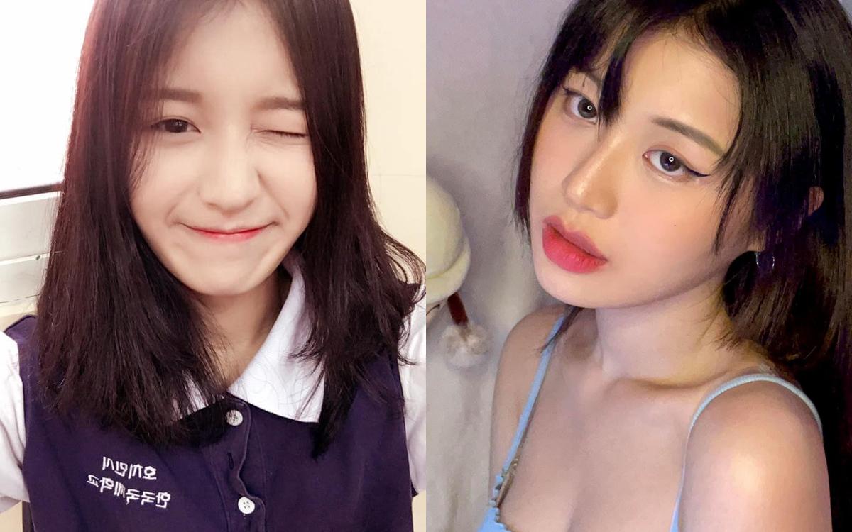 Han Sara có vẻ ngoài ngây thơ búng ra sữa vào năm 2015. Hiện tại, nữ ca sĩ đi theo phong cách sexy, trưởng thành. Sự khác biệt ở sống mũi, đôi môi khiến cô bị nghi ngờ can thiệp dao kéo.