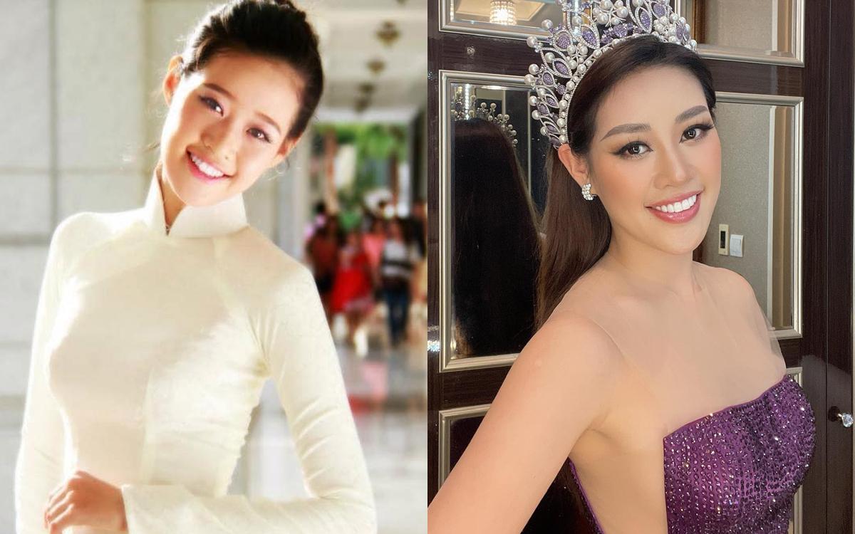 Hoa hậu Khánh Vân đẹp trong sáng cùng tà áo dài trắng trong một khoảnh khắc chụp năm 2013. Hoa khôi Áo dài ngày ấy giờ đã trở thành Hoa hậu Hoàn vũ Việt Nam với gương mặt ngày càng sắc sảo.