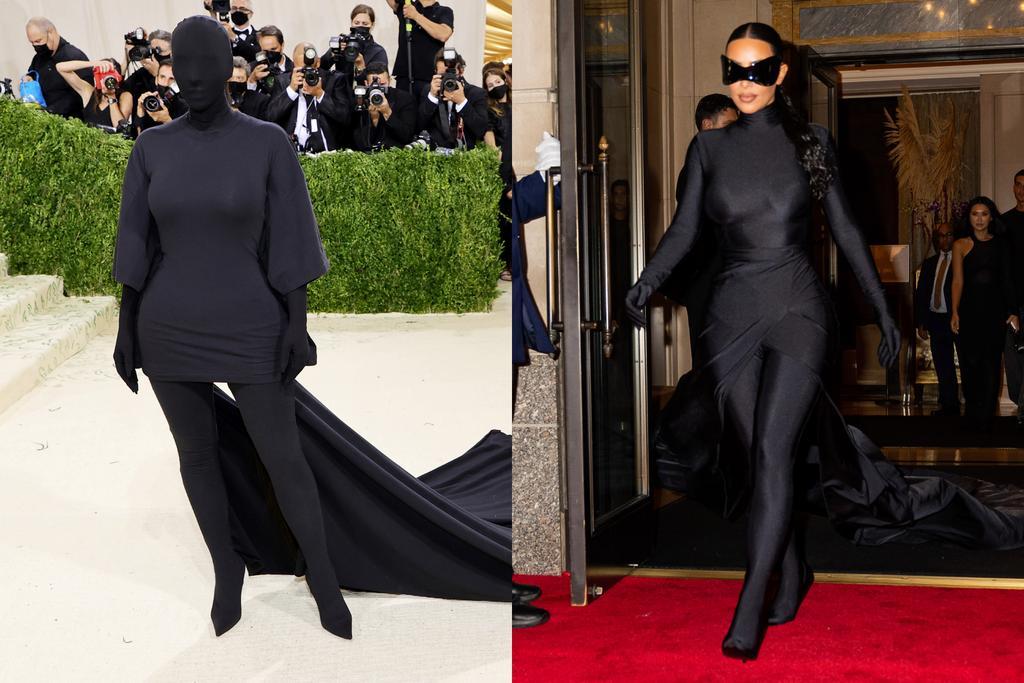 Cuối cùng Kim Kardashian cũng được cởi bỏ chiếc mặt nạ che kín mặt mũi khi tham dự buổi tiệc hậu Gala. Vẫn diện trang phục đen kịt toàn thân của Balenciaga nhưng siêu vòng ba chuyển sang đeo kính to bản như Cat woman. Dù che 1/3 gương mặt, Kim vẫn có cơ hội khoe gương mặt được cô ngồi hàng tiếng đồng hồ để trang điểm kỹ lưỡng.