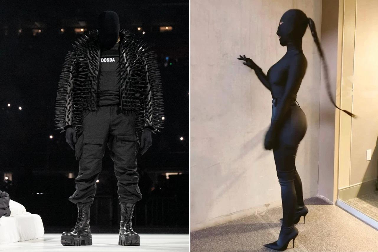 Kim và Kanye West mặc giống nhau tại tiệc nghe nhạc giới thiệu album mới của nam rapper.