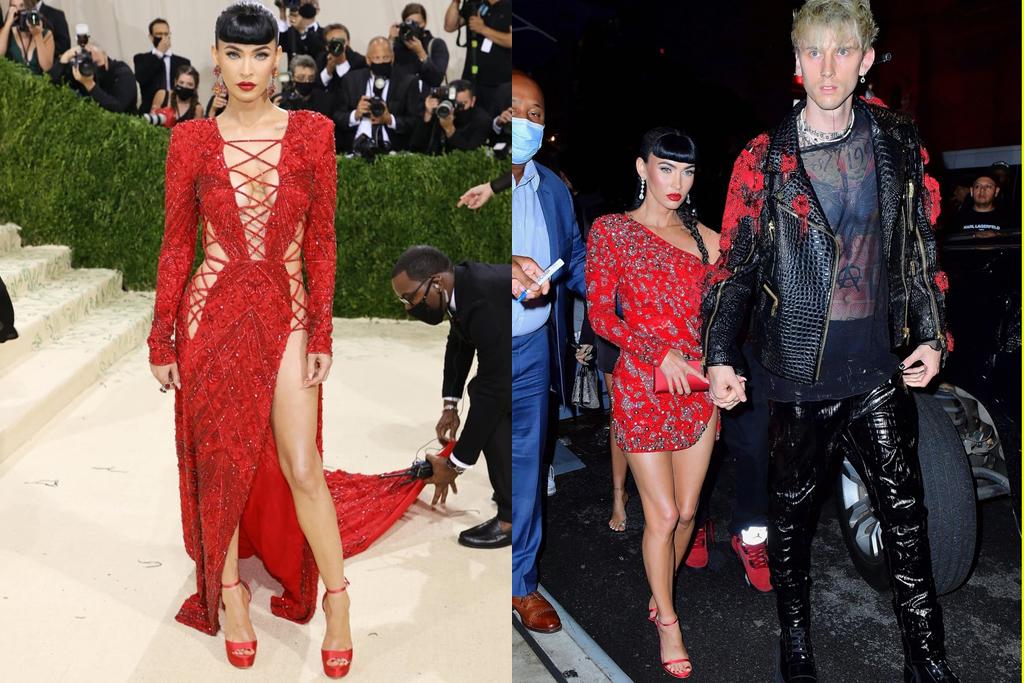 Megan Fox vẫn chuộng gam màu đỏ ở tiệc hậu Met Gala, tuy nhiên cô chọn kiểu váy cocktail kết đính cá tính, phù hợp với hình ảnh rock chic của bạn trai.