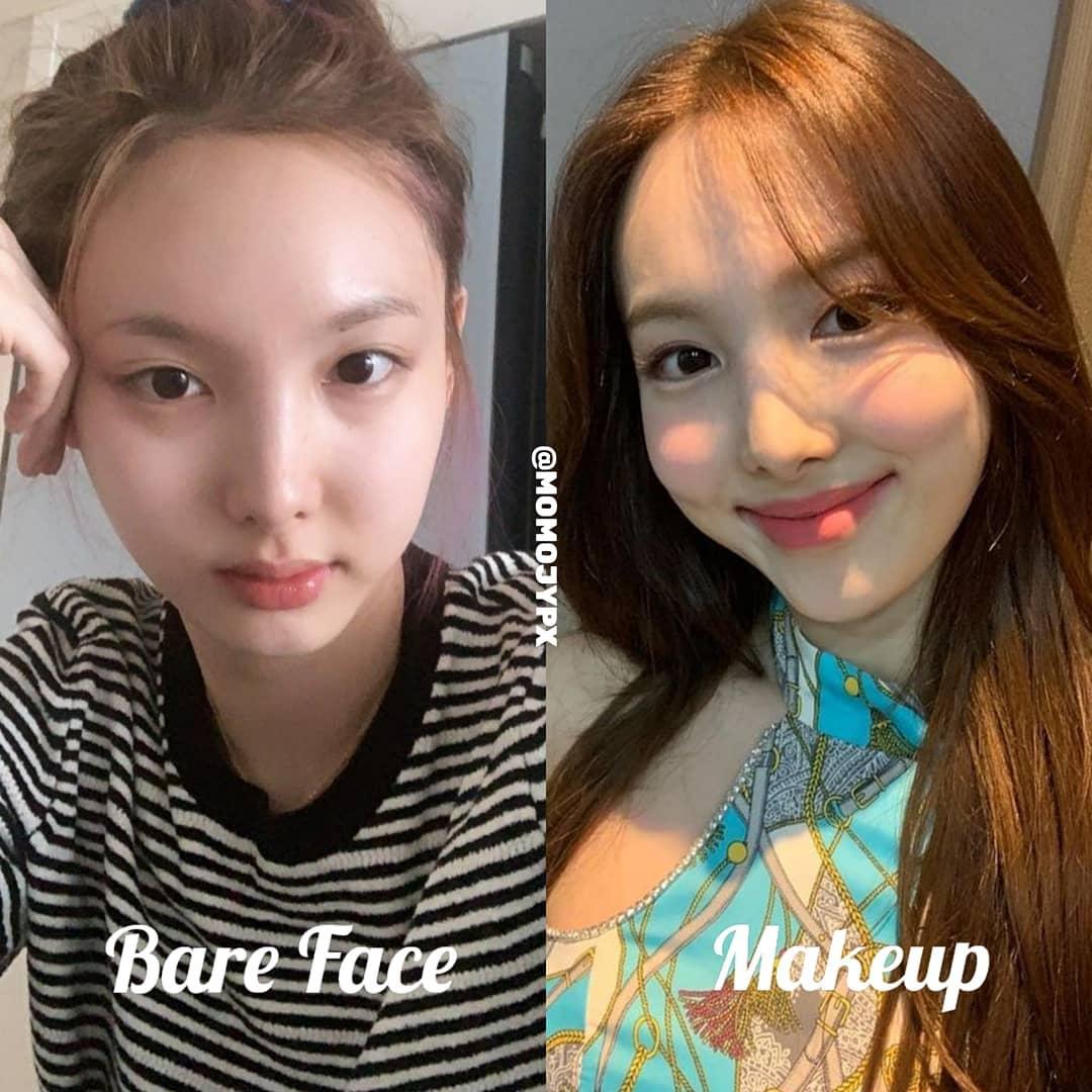 Thường xuyên bị chê là thành viên có lối makeup thảm họa nhất nhóm, Da Hyun khoe được dung mạo búng ra sữa khi không kẻ bọng mắt và tô má hồng giả trân.