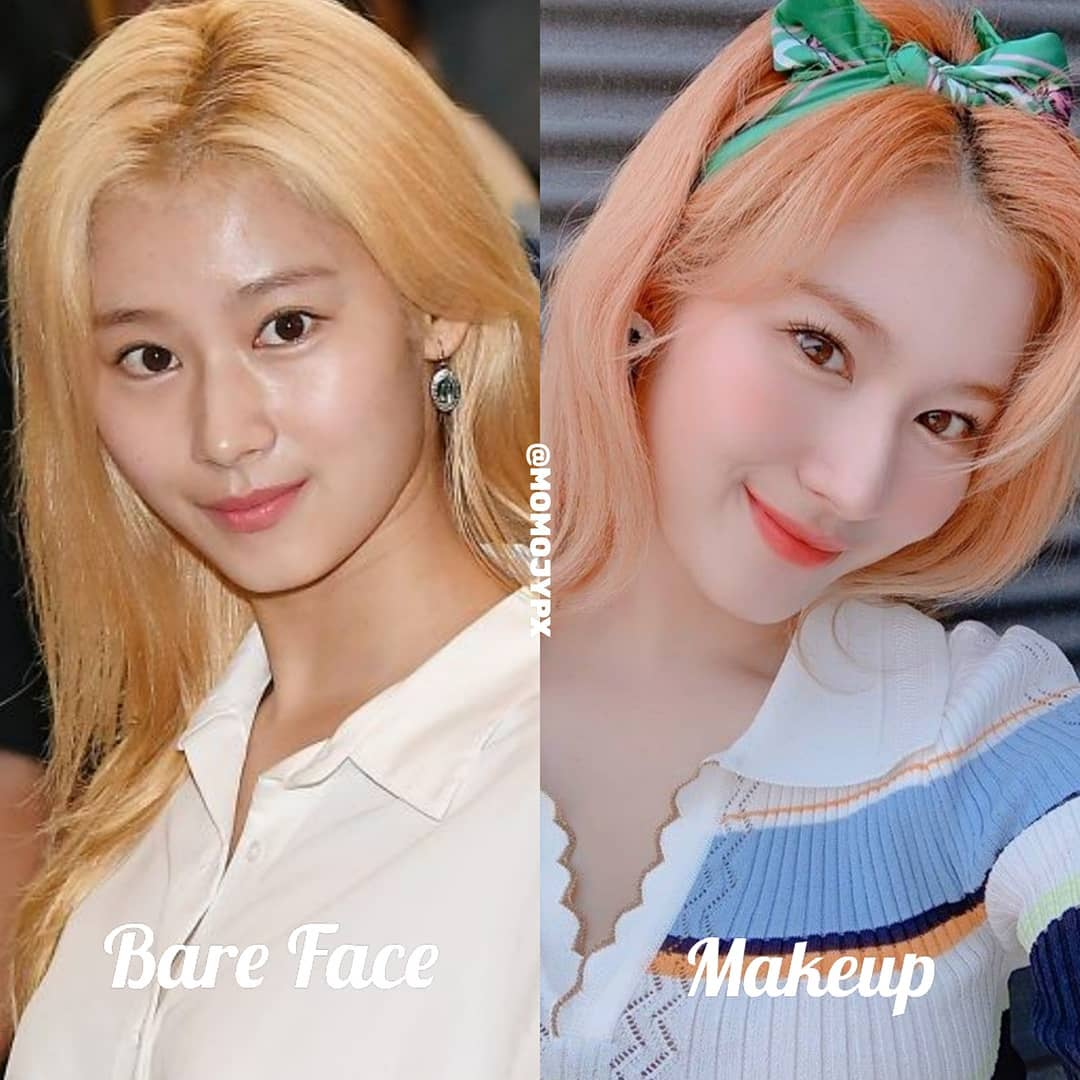 Gương mặt Sana thay đổi khá nhiều sau makeup, đặc biệt là ở làn da khá sạm, không đều màu.