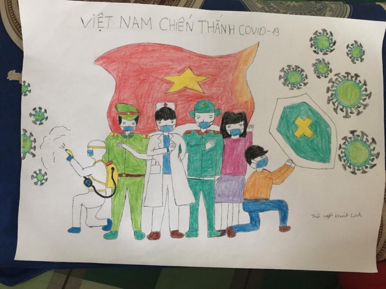 Bức tranh Khánh Linh vẽ tranh gửi cuộc thi. Ảnh: Nhân vật cung cấp.