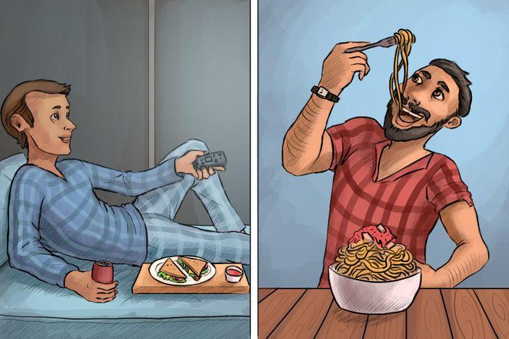 Có người thích ăn tối trên giường nhưng có người phải ngồi ngăn ngắn trên bàn mới ăn được.