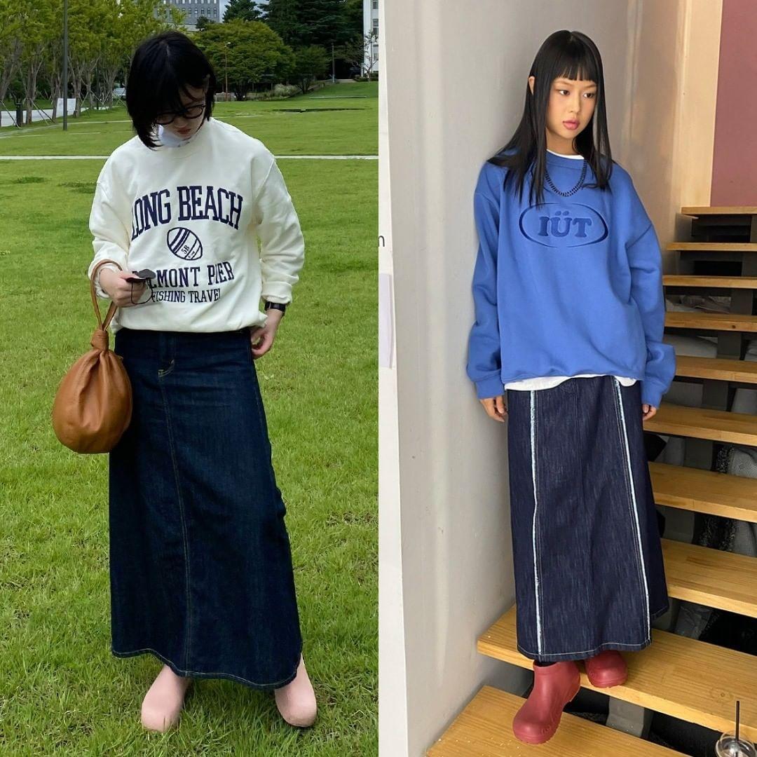 Các cô gái Hàn gần đây cũng đua nhau học kiểu phối trông luộm thuộm nhưng rất vui mắt của con gái Nhật, đó là kết hợp áo nỉ với chân váy dài.