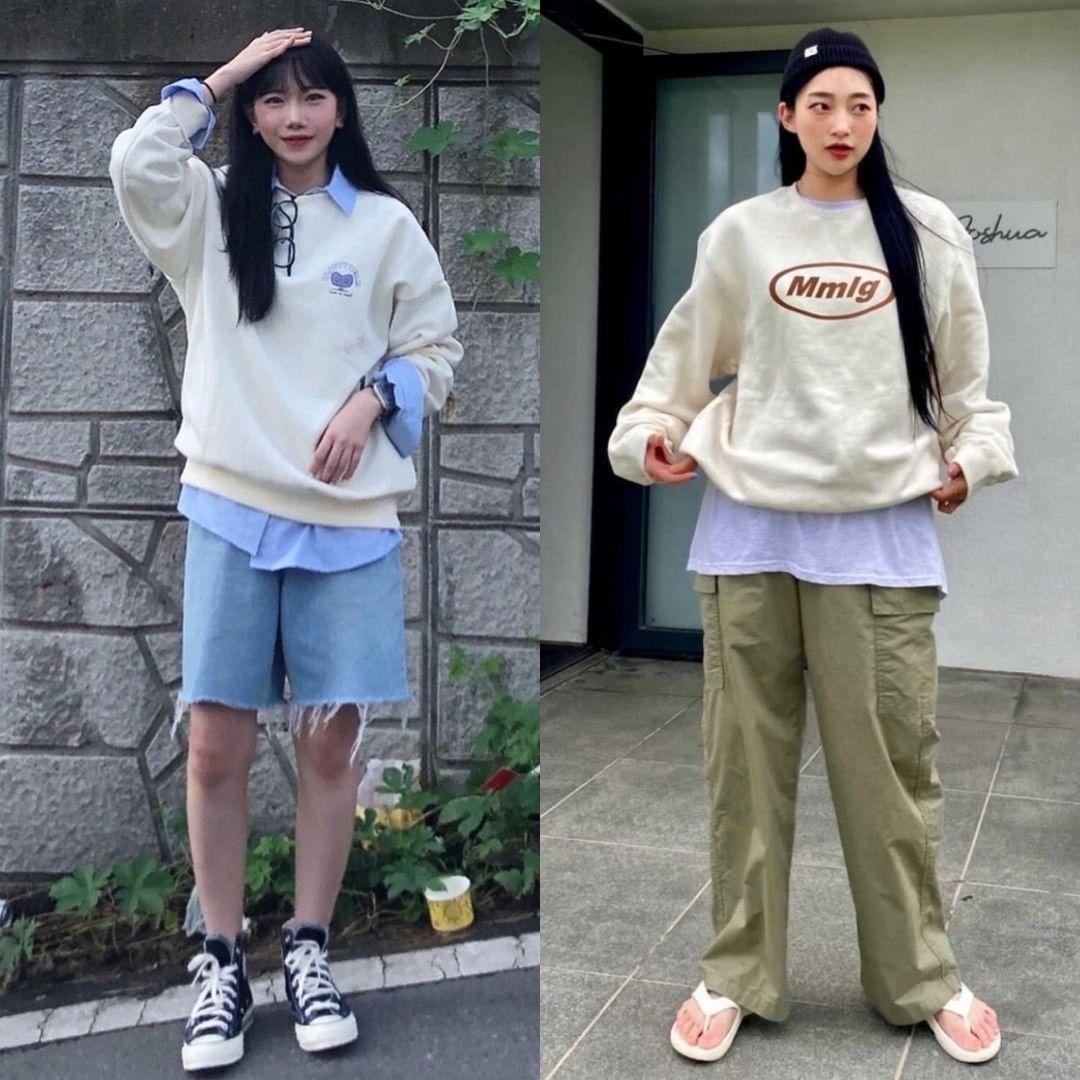 Áo nỉ phối kiểu layer được các cô gái Hàn Quốc ưa chuộng để outfit có điểm nhấn và trông phong cách hơn. Chỉ cần diện thêm bên trong một chiếc sơ mi hay áo phông và để lộ phần gấu, bạn lập tức có set áo rất xịn xò.