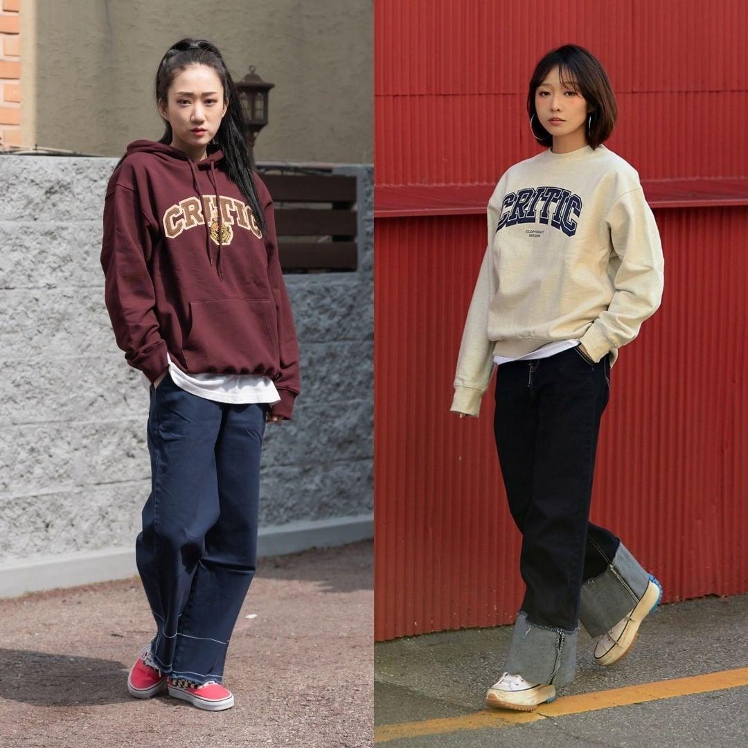 Quần jeans thụng phối áo nỉ là lựa chọn hay ho cho những nàng thích phong cách phóng khoáng, cá tính.