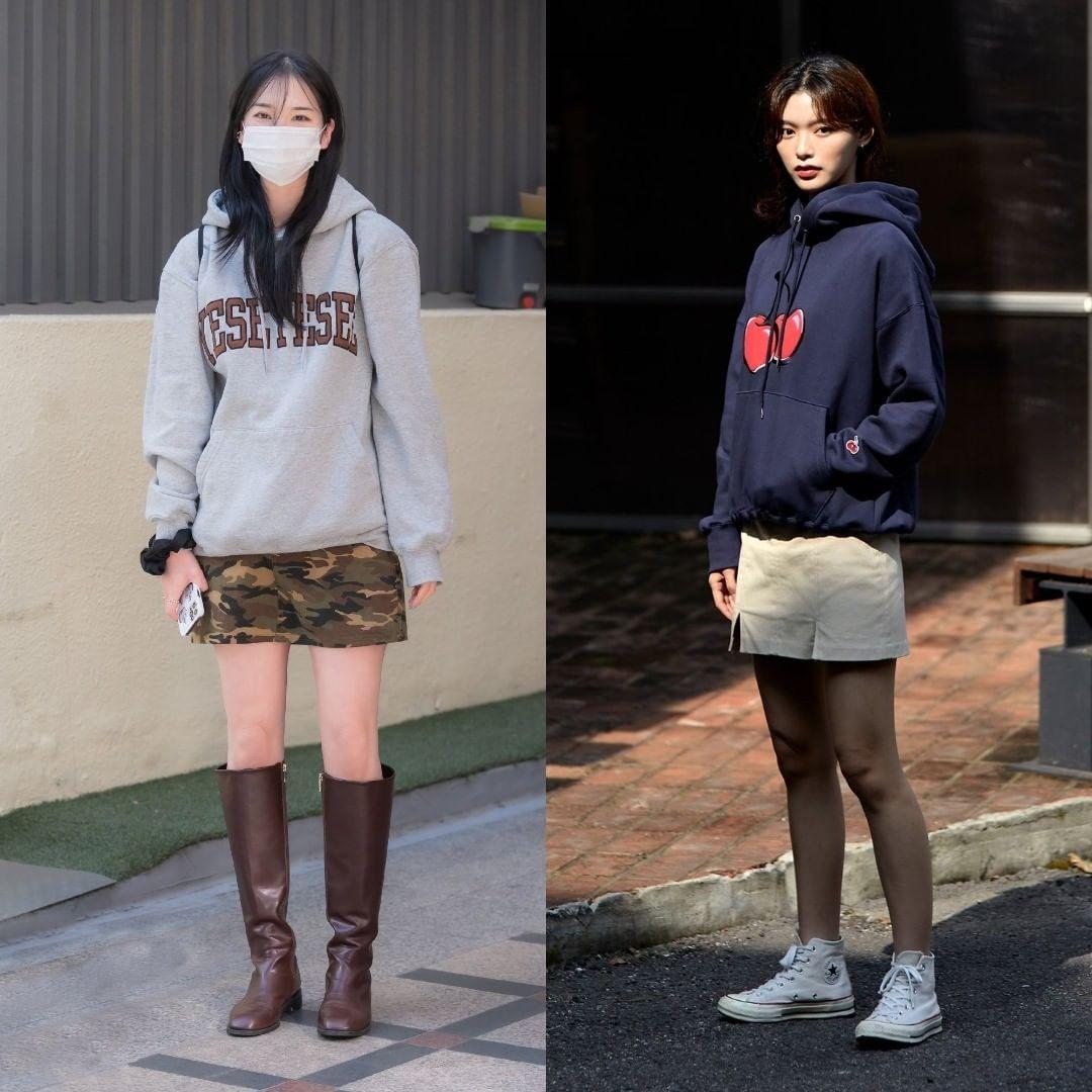 Những cô nàng nấm lùn có thể học cách mix áo nỉ cùng chân váy ngắn. Các thiết kế phom chữ A sẽ giúp thân hình gọn gàng, mảnh mai hơn.