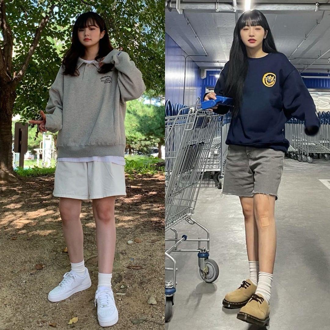 Chuộng phong cách nghịch ngợm, hãy học cách kết hợp áo nỉ với quần shorts lửng như các cô gái Hàn Quốc đang yêu thích.